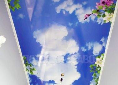 Матовый натяжной потолок с рисунком весны НП-1100 - фото 2