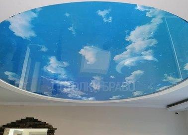 Круглый голубой небесный натяжной потолок НП-1105
