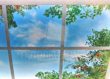 Глянцевый натяжной потолок с рисунком в виде окна НП-1109 - фото 2