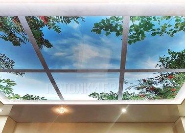 Глянцевый натяжной потолок с рисунком в виде окна НП-1109