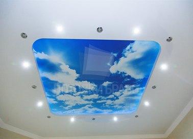 Матовый натяжной потолок с принтом неба в стиле Прованс НП-1110