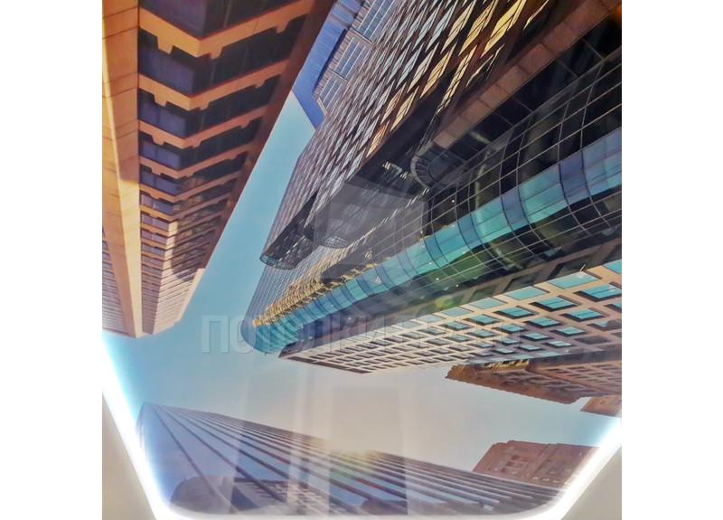 Современный матовый натяжной потолок с принтом зданий НП-1113