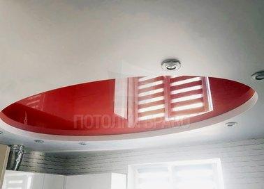 Красно-белый современный натяжной потолок НП-1116 - фото 3