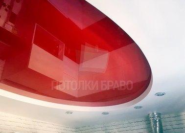 Красно-белый современный натяжной потолок НП-1116