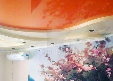 Желто-оранжевый двухуровневый натяжной потолок НП-1118 - фото 2