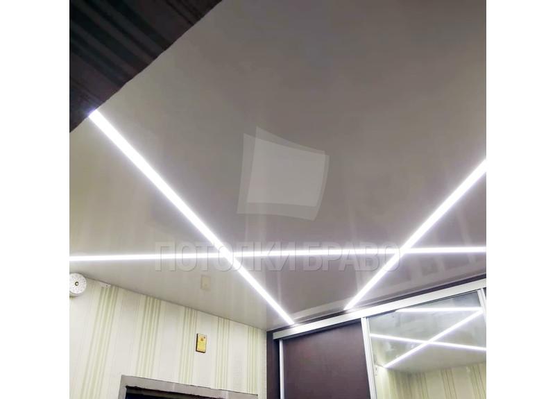 Серый глянцевый натяжной потолок с подсветкой НП-1161
