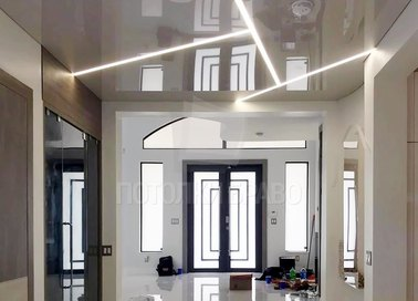 Темно-бежевый зеркальный натяжной потолок НП-1163