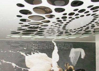 Глянцевый-матовый натяжной потолок в жилую комнату НП-1180