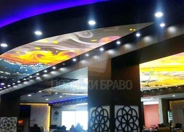Необычный черный матовый натяжной потолок для ресторана НП-1201