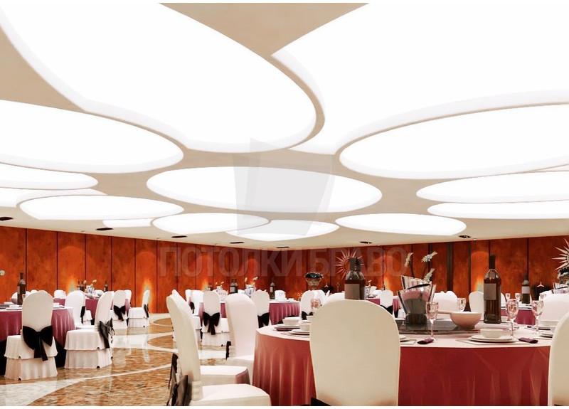 Красно-бежевый матовый натяжной потолок для ресторана НП-1202