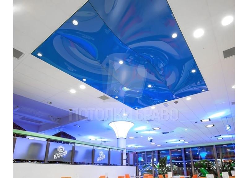 Синий глянцевый натяжной потолок для общественного места НП-1206