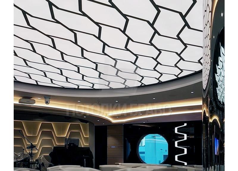 Матовый натяжной потолок с черным узором НП-1222