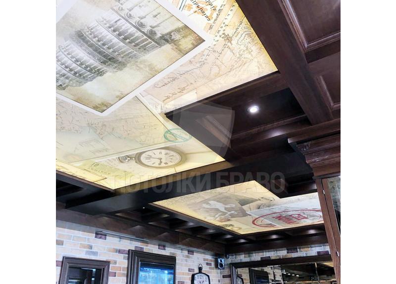 Матовый натяжной потолок с изображениями для ресторана НП-1227