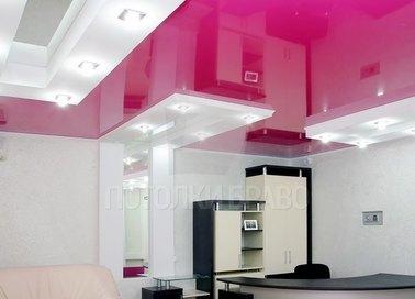 Темно-розовый натяжной потолок с точечной подсветкой НП-1233