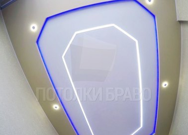 Двухуровневый матовый натяжной потолок с подсветкой НП-1239
