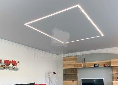 Белый матовый натяжной потолок с подсветкой для комнаты НП-983