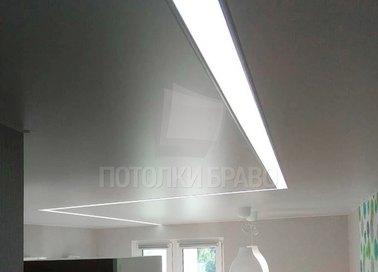 Серый матовый натяжной потолок с подсветкой для комнаты НП-1247