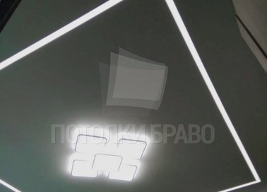 Черный матовый натяжной потолок для жилой комнаты НП-1251
