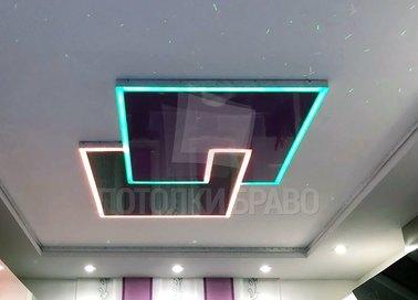 Матовый натяжной потолок с геометрической подсветкой НП-1255