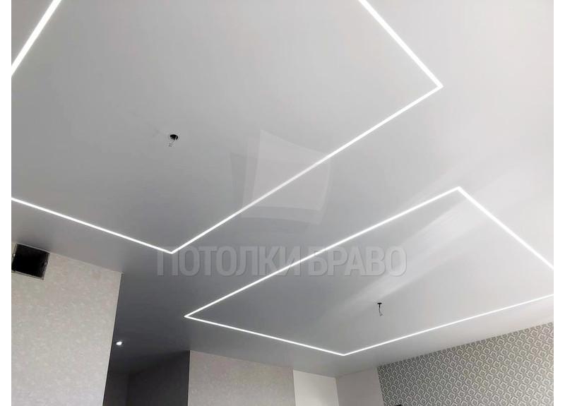 Матовый натяжной потолок с диодной лентой НП-1257