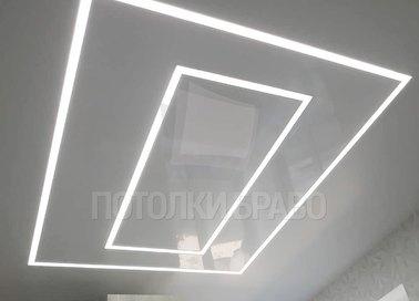 Сатиновый натяжной потолок с освещением НП-1260