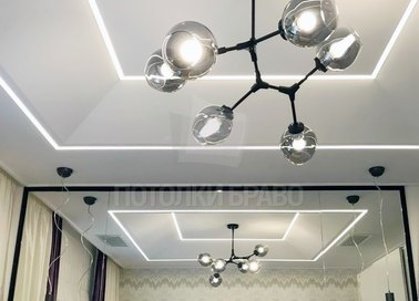 Сатиновый натяжной потолок с подсветкой и люстрой НП-1261 - фото 2