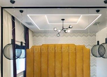 Сатиновый натяжной потолок с подсветкой и люстрой НП-1261 - фото 3
