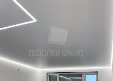 Матовый натяжной потолок с белой подсветкой НП-1264