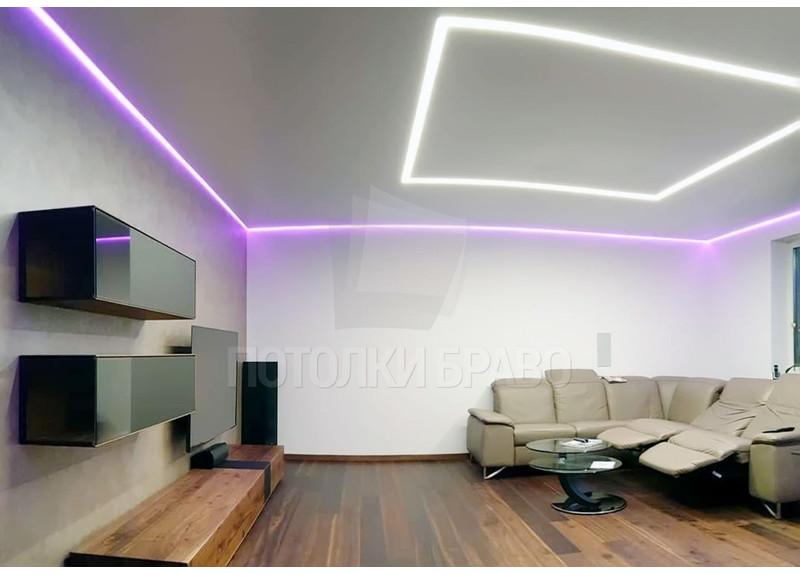 Матовый натяжной потолок с сиреневой подсветкой НП-1269