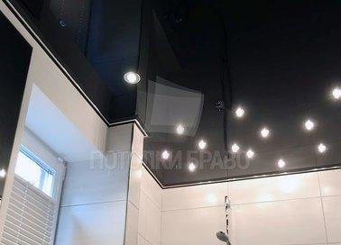 Глянцевый черный натяжной потолок НП-1292