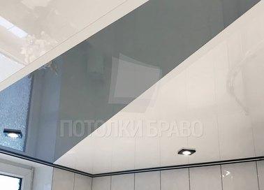 Бело-серый глянцевый натяжной потолок НП-1298 - фото 2