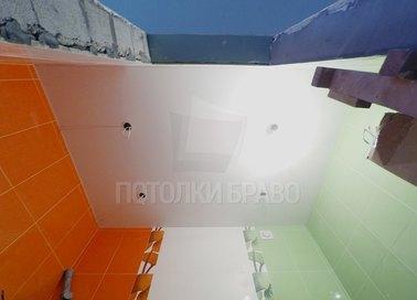 Матовый со светильниками белый в ванну натяжной потолок НП-790