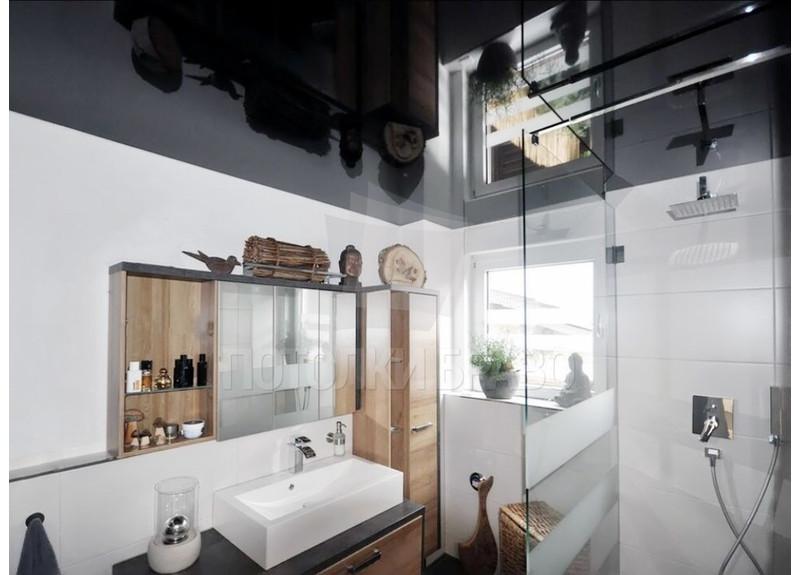 Глянцевый черный в ванну натяжной потолок НП-1320
