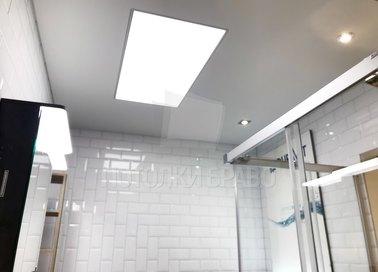 Серый сатиновый натяжной потолок с LED-освещением НП-1327