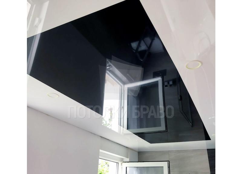 Черно-белый натяжной потолок с LED-подсветкой НП-1337
