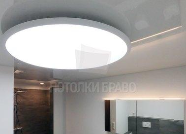 Серый матовый натяжной потолок с круглым светильником НП-1344