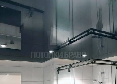 Темно-серый глянцевый натяжной потолок НП-1353