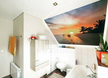 Матовый натяжной потолок с принтом заката на пляже НП-1376
