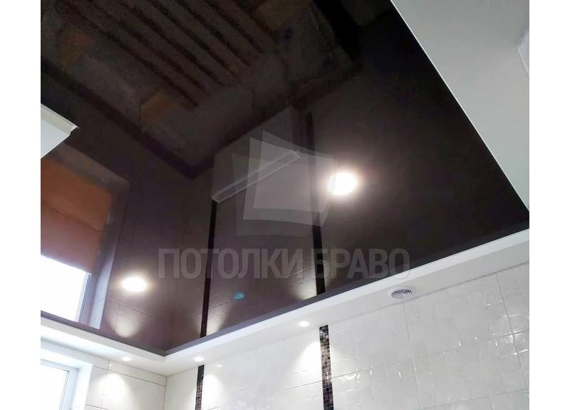 Черный матовый зеркальный натяжной потолок НП-1394