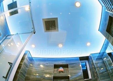 Красивый голубой сатиновый натяжной потолок НП-1400