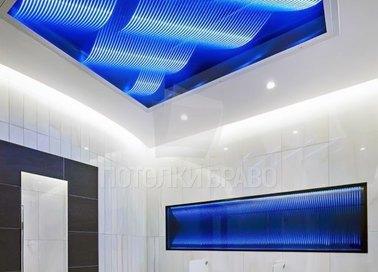 Матовый натяжной потолок с синей абстракцией НП-1405
