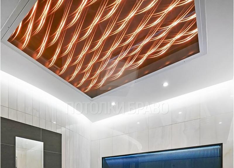 Оранжевый матовый натяжной потолок с абстракцией НП-1420