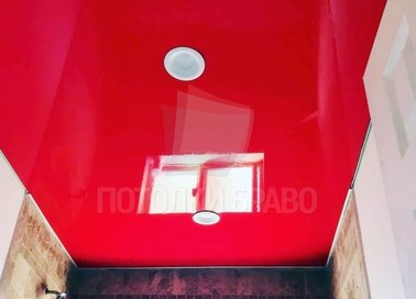 Красный глянцевый натяжной потолок для ванной комнаты НП-1422