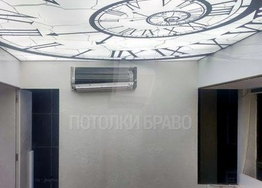 Светящийся натяжной потолок с изображением часов НП-1426