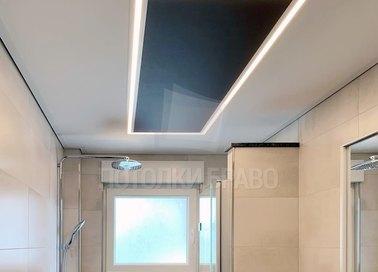 Черно-бежевый двухуровневый натяжной потолок НП-1427