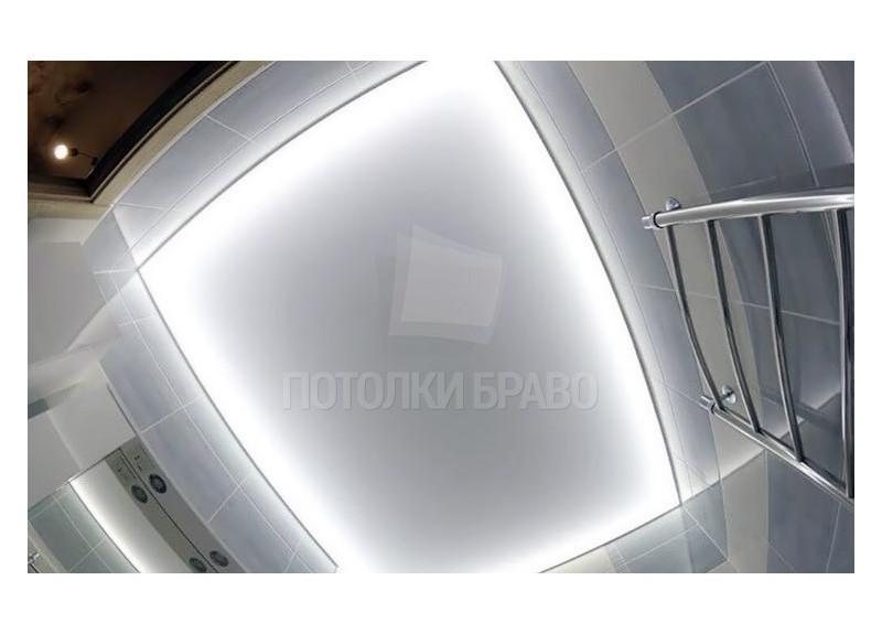 Матовый натяжной белый потолок для ванный НП-1438