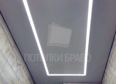 Матовый серо-белый натяжной потолок в туалет НП-1446