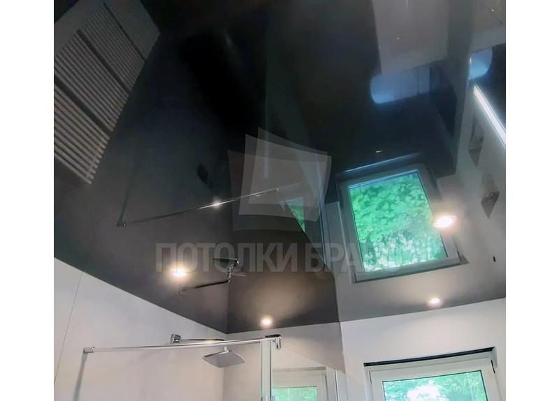 Черный зеркальный натяжной потолок для ванной комнаты НП-1457 - фото 2