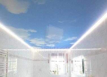 Небесный матовый натяжной потолок с подсветкой НП-1459