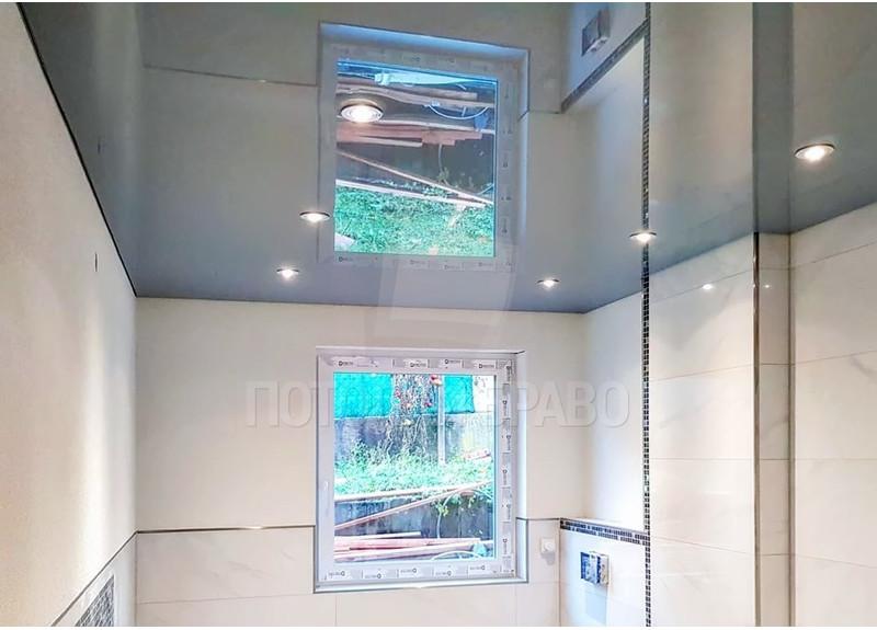 Глянцевый белый натяжной потолок с подсветкой по периметру НП-1474